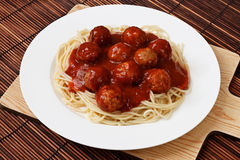 Plate of Spaghetti and Meatballs. Spaghetti with Meatballs in a bolognese sauce a western adaptation from traditional italian cooking Stock Photo
