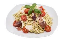 Plate with Spaghetti and Pesto Stock Photos