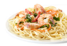 Plate of spaghetti with seafood Stock Photography
