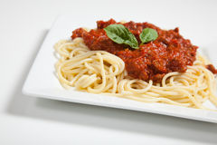 Plate of spaghetti on white Royalty Free Stock Photo