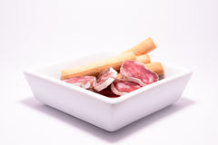 A plate of Spanish sausage Stock Photo
