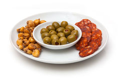 Plate of Spanish tapas Stock Photos