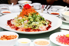 Plate of special salad in Thai style stock photos