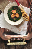 Plate of spinach and cheese curry Saag Paneer Stock Photo