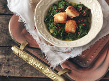 Plate of spinach and cheese curry Saag Paneer Royalty Free Stock Image