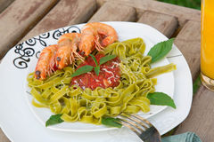 A plate of spinach pasta with shrimps and tomato sauce Royalty Free Stock Photo