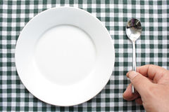 Plate and spoon Royalty Free Stock Photos
