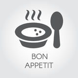 Plate with spoon flat icon. Portion of hot food with steam and wish bon appetit. Label for culinary design needs Royalty Free Stock Photo