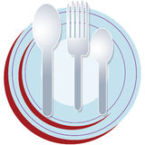 Plate spoon fork. A set of plate and spoons with fork ready for dining Royalty Free Stock Images