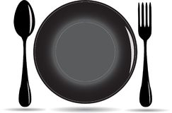 Plate, spoon and fork Stock Photos