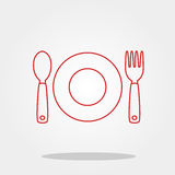 Plate spoon fork cute icon in trendy flat style isolated on color background. Kitchenware symbol for your design, logo, UI. Vector Royalty Free Stock Photography