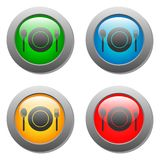 Plate spoon and fork icon on set glass button Royalty Free Stock Images