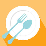 Plate spoon and fork icon Stock Photography
