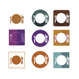 Plate spoon fork icons Stock Image