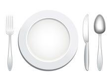 Plate spoon fork knife Stock Photos