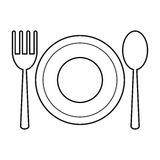 Plate spoon fork utensils thin line. Illustration eps 10 Royalty Free Stock Photography
