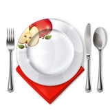 Plate with spoon, knife and fork Stock Photos