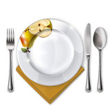 Plate with spoon, knife and fork vector illustration