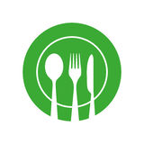 Plate with Spoon Knife and Fork Vector Icon. Royalty Free Stock Images