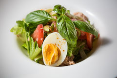 Plate of spring mix salad with strawberry, eggs Royalty Free Stock Photos