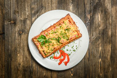 Plate with square pastry Stock Photos