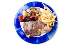 Plate of steak with chips royalty free stock photos