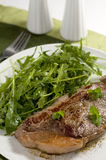 Plate of steak and green salad. Rucola royalty free stock image
