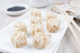 Plate with steamed crab meat dumplings Stock Image