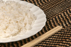 Plate of steamed rice Royalty Free Stock Image