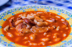 Plate of stewed white beans with chorizo Royalty Free Stock Image