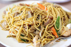 Plate of stir-fried chow mein Stock Photos