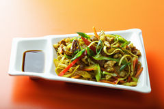 Plate of stir fried noodles Stock Photo
