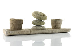 Plate with stones  in balance Stock Photos
