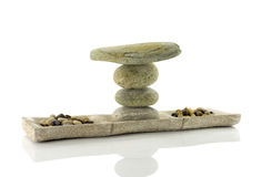 Plate with stones  in balance Stock Image