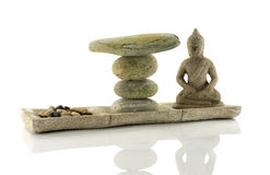 Plate with stones  and budha in balance Stock Images