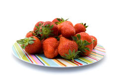 Plate with strawberries Royalty Free Stock Photos