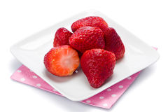 Plate of Strawberries Stock Images