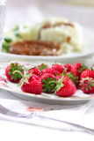 Plate of strawberries Royalty Free Stock Photography