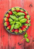 Plate with  strawberries and basil on red rustic wooden background Stock Image