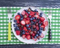 Plate of strawberries, blueberries, organic gooseberries product summer on a wooden background Royalty Free Stock Photo