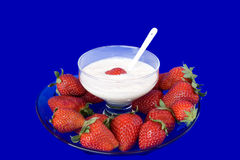 Plate With Strawberries And Bowl With Yogurt Stock Photography