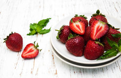 Plate with strawberries Stock Image