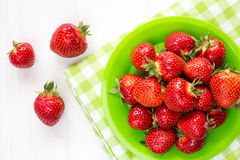 Plate with strawberries-top view. Stock Image