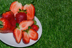 Plate of strawberries Stock Photography