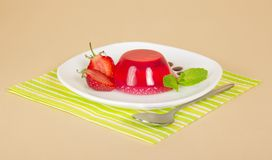 Plate with strawberry jelly Royalty Free Stock Image