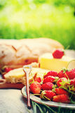 Plate of Strawberry on Picnic Blanket. With fresh bread, cheese on green background Royalty Free Stock Photography