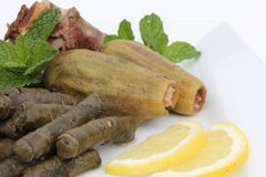 Plate of Stuffed Zucchini and Vine Leaves Stock Image