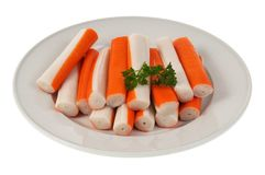Plate of surimi sticks stock images