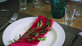 A plate surrounded by cutlery of wine glasses and glasses on which lies a pink napkin with a green twig. Close-up stock video footage