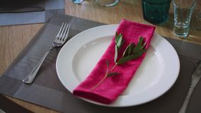 A plate surrounded by cutlery of wine glasses and glasses on which lies a pink napkin with a green twig. Close-up stock video